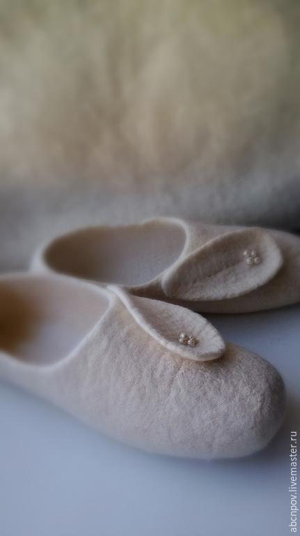 """Обувь ручной работы. Ярмарка Мастеров - ручная работа. Купить Тапочки-балетки """"Ванильные облака"""". Handmade. Белый"""