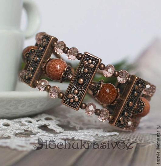 Браслеты ручной работы. Ярмарка Мастеров - ручная работа. Купить Медный браслет - Шоколадная лазурь. Handmade. Коричневый, медный браслет