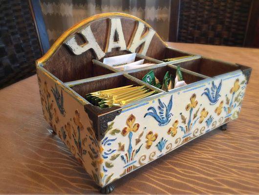"""Кухня ручной работы. Ярмарка Мастеров - ручная работа. Купить Коробка для чая """"Фиалка"""". Handmade. Коробка для чая, Декупаж, сосна"""