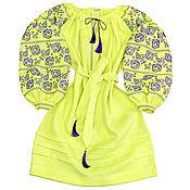 """Одежда ручной работы. Ярмарка Мастеров - ручная работа Платье-вышиванка """"Искрящиеся Розы"""" лимонное. Handmade."""
