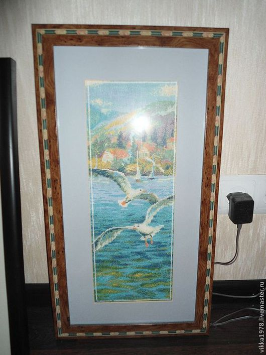 """Пейзаж ручной работы. Ярмарка Мастеров - ручная работа. Купить """"Морской прибой"""". Handmade. Вышивка, Вышивка крестом, картина для интерьера"""