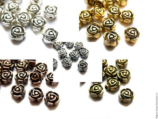 """Для украшений ручной работы. Ярмарка Мастеров - ручная работа. Купить Бусина металлическая """"Роза"""" 7 мм, цвета в ассортименте. Handmade."""