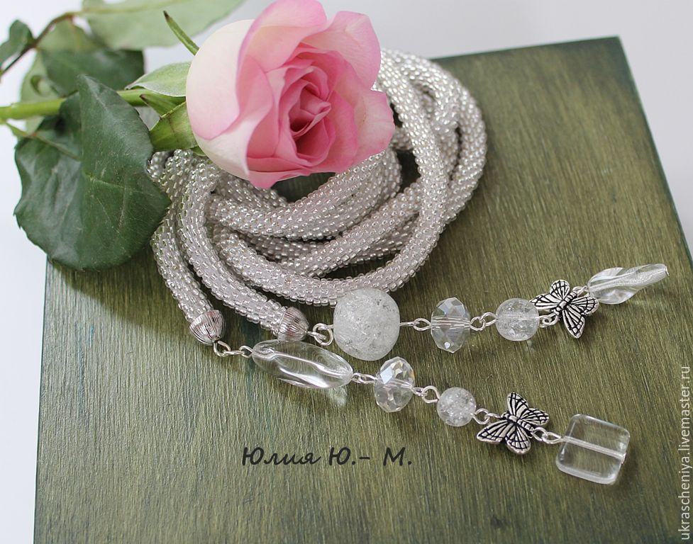 lariat 'flying butterfly' harness beaded knitted, silver, Lariats, Ryazan,  Фото №1