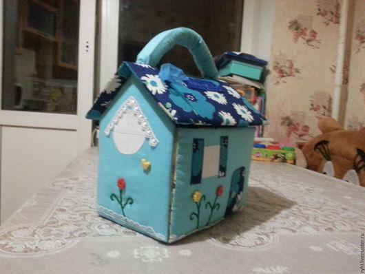 Кукольный дом ручной работы. Ярмарка Мастеров - ручная работа. Купить Дом-сумка текстильный. Handmade. Бирюзовый