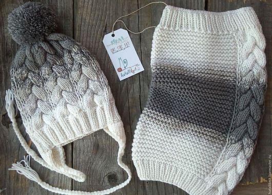 Шапки и шарфы ручной работы. Ярмарка Мастеров - ручная работа. Купить Комплект шапка и снуд Монохром. Handmade. Однотонный, шерсть