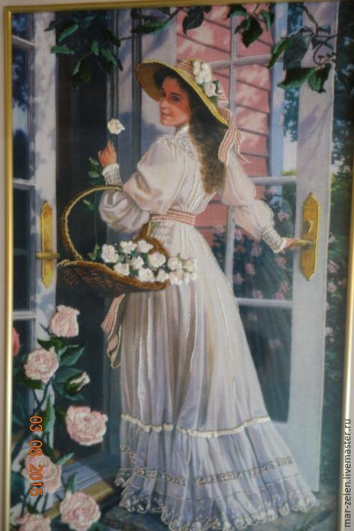 Люди, ручной работы. Ярмарка Мастеров - ручная работа. Купить Девушка в саду (ручная вышивка). Handmade. Картина, вышивка ручная