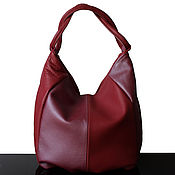 Сумки и аксессуары handmade. Livemaster - original item Leather bag, Cranberry, Metallic, hobo Bag, leather bag. Handmade.