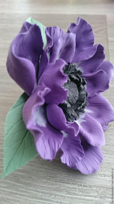 Заколка-брошь с фиолетовой анемоной из полимерной глины – заказать на Ярмарке Мастеров – 9HQVRRU | Брошь-булавка, Санкт-Петербург