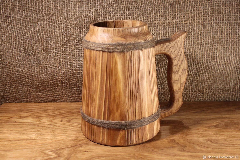 Кружка пивная из дерева. Старинной трактирной формы, Кружки, Донецк, Фото №1