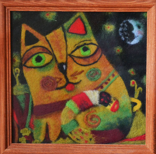 """Животные ручной работы. Ярмарка Мастеров - ручная работа. Купить Картина из шерсти """"Котик-обормотик"""". Handmade. Разноцветный, картина из шерсти"""