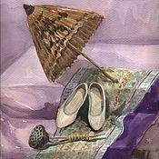 Картины и панно ручной работы. Ярмарка Мастеров - ручная работа Акварельная картина Восточный зонтик гейши,25х25см. Handmade.