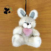 Куклы и игрушки handmade. Livemaster - original item Bunny with a heart. The toy is made of natural mink fur. Keychain 20 cm. Handmade.