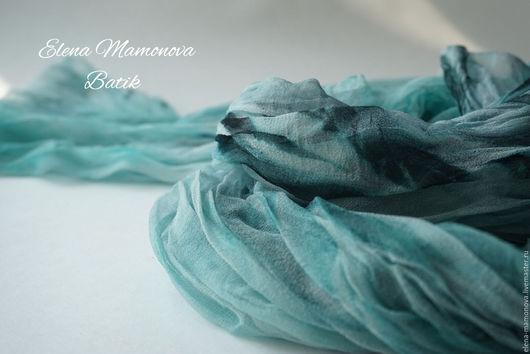Шарфы и шарфики ручной работы. Ярмарка Мастеров - ручная работа. Купить Шарф батик в стиле бохо Изумрудный. Handmade.