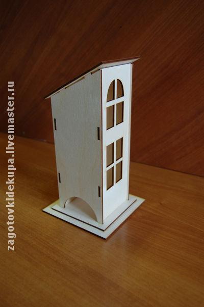 Чайный домик  (продается в разобранном виде в палетках) габарит - 13х13х24 см домик - 9х8,5х24 см,  подставки 13х13 см и 11х11 см Материал: фанера 3 мм