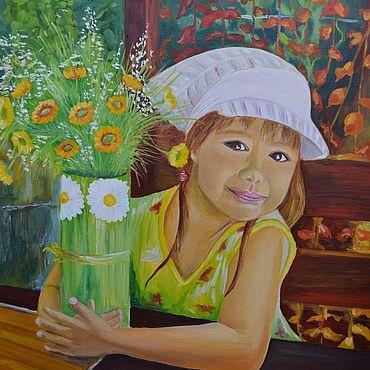 Картины и панно ручной работы. Ярмарка Мастеров - ручная работа Картины: картина маслом Девочка с цветами. Handmade.