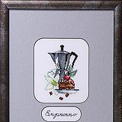 Картины и панно handmade. Livemaster - original item Cross stitch Coffee traditions. Handmade.