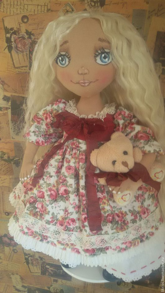 Коллекционные куклы ручной работы. Ярмарка Мастеров - ручная работа. Купить Машенька и медведь. Handmade. Комбинированный, подарок девушке