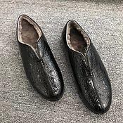Обувь ручной работы handmade. Livemaster - original item Winter boots, alligator leather, fur in black.. Handmade.