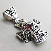 Украшения handmade. Livemaster - original item Silver Celtic cross with garnet. Handmade.