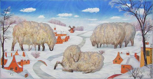 Пейзаж ручной работы. Ярмарка Мастеров - ручная работа. Купить Пряжа для Зимы. Принт на холсте.. Handmade. Белый, картина маслом