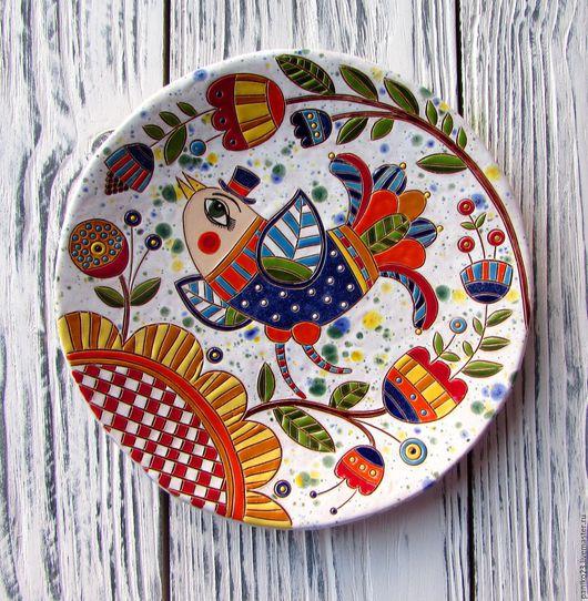 """Декоративная посуда ручной работы. Ярмарка Мастеров - ручная работа. Купить Декоративная тарелка """"Птица весенняя"""". Handmade. Комбинированный, тарелка"""