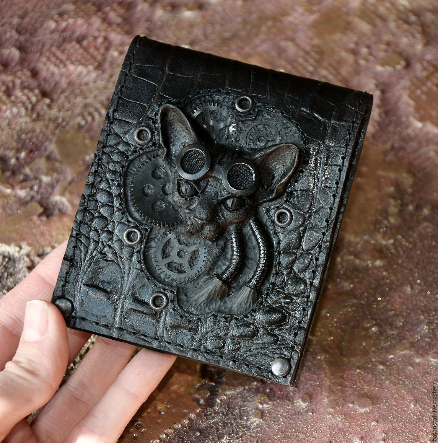 Leather purse - Steampunk cat . Mens wallet, Wallets, Moscow,  Фото №1