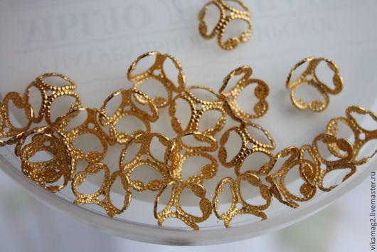 Для украшений ручной работы. Ярмарка Мастеров - ручная работа. Купить Шапочки для бусин позолоченные Gold plated  10 мм. Handmade.