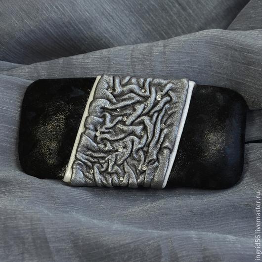 Заколки ручной работы. Ярмарка Мастеров - ручная работа. Купить Заколка автомат для волос из натуральной кожи Черная Пантера. Handmade.
