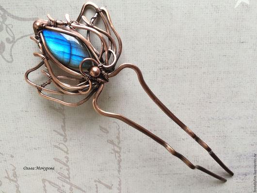 """Заколки ручной работы. Ярмарка Мастеров - ручная работа. Купить медная шпилька """"Вечернее небо"""". Handmade. Синий, голубой камень"""