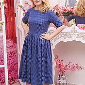 Одежда ручной работы. Ярмарка Мастеров - ручная работа Платье из темно-синей джинсы в горошек, платье Надюша. Handmade.