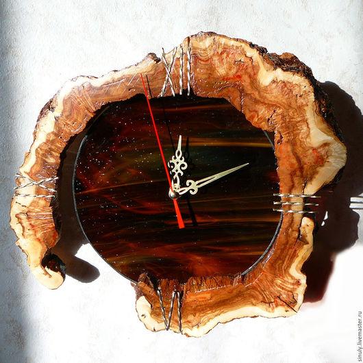 Часы для дома ручной работы. Ярмарка Мастеров - ручная работа. Купить Часы - кап тополя и стекло.. Handmade. Часы, кап