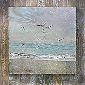 Картины и панно ручной работы. Ярмарка Мастеров - ручная работа картина Мечта... (морской пейзаж, сиреневый, бирюзовый бежевый). Handmade.