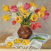 Картины и панно handmade. Livemaster - original item Oil painting of Tulips. Handmade.