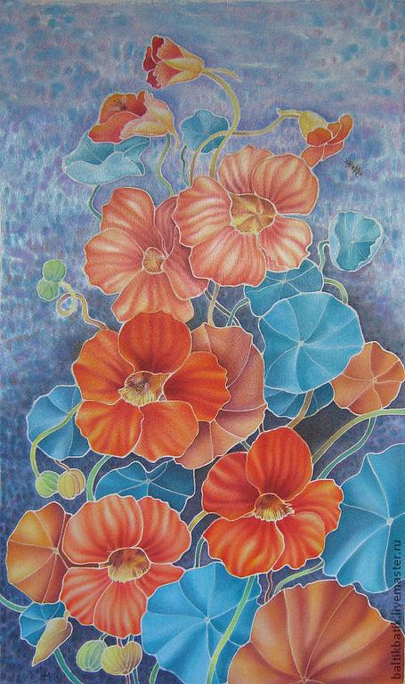 """Картины цветов ручной работы. Ярмарка Мастеров - ручная работа. Купить Картина батик  """"Настурции"""". Handmade. Оранжевый, цветение"""