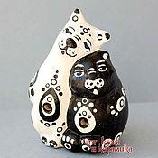 """Музыкальные инструменты handmade. Livemaster - original item Hand-made clay Ocarina (Tin whistle) """"Cats"""". Exclusive whistle animals. Handmade."""