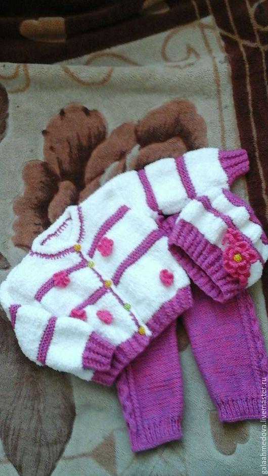 костюм детский, вязаный костюм, комплект вязаный,для девочки, красивый костюмчик, теплый костюм, в подарок, детям, вязаный комплект, детский костюм, на зиму, кофта, штанишки, ручной работы