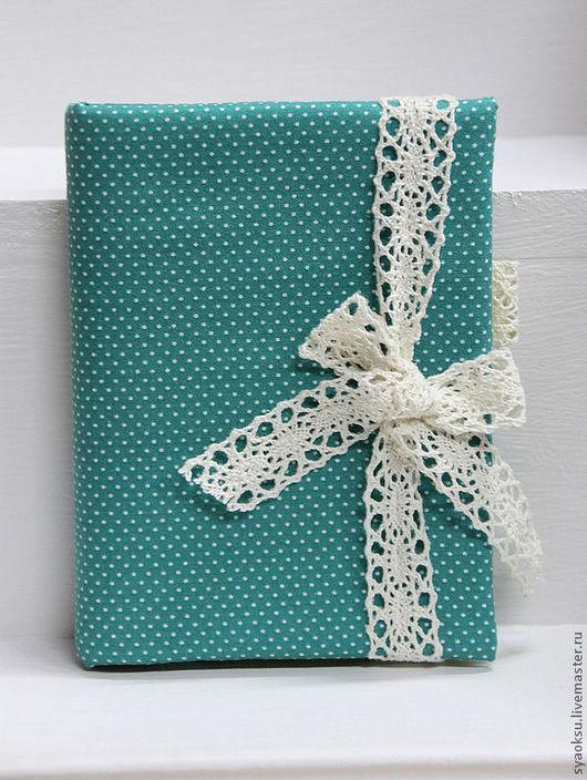Блокноты ручной работы. Ярмарка Мастеров - ручная работа. Купить Блокнот бирюзовый с кружевной лентой. Handmade. Морская волна