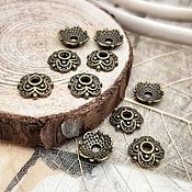 Материалы для творчества handmade. Livemaster - original item 10 PCs. Cap beads 8mm bronze color (2234). Handmade.