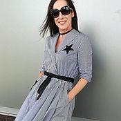 Одежда ручной работы. Ярмарка Мастеров - ручная работа Летнее платье в клетку виши с вышивкой. Handmade.