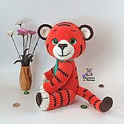 Куклы и игрушки handmade. Livemaster - original item Tiger cub Lo knitted toy tiger made of plush yarn as a gift. Handmade.