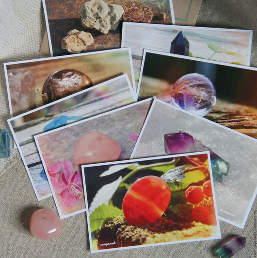 """Открытки к другим праздникам ручной работы. Ярмарка Мастеров - ручная работа. Купить тёплые открытки набор """"Камни и минералы"""" 1. Handmade."""