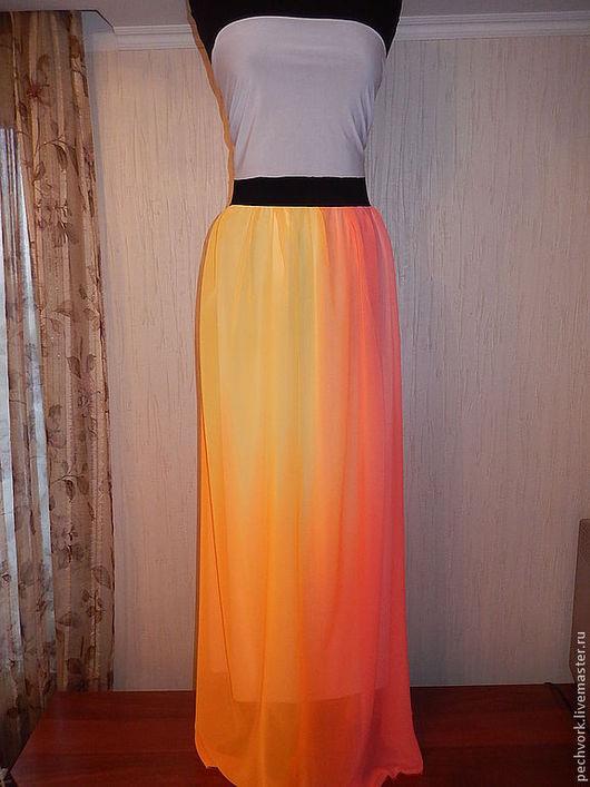 """Юбки ручной работы. Ярмарка Мастеров - ручная работа. Купить Юбка длинная  """" Солнечная"""". Handmade. Желный, длинная юбка"""