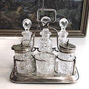 Винтаж handmade. Livemaster - original item Spice set on stand brass silver plated crystal. Handmade.