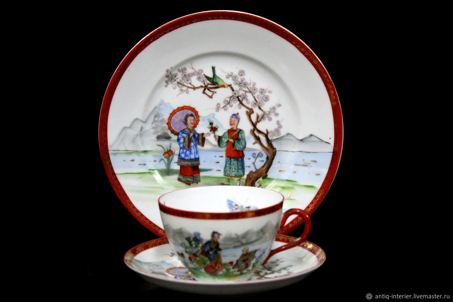 Prussian (Silesia) antique trio made of the finest porcelain, Vintage sets, Kaliningrad,  Фото №1
