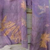 """Аксессуары ручной работы. Ярмарка Мастеров - ручная работа Шелковый шарф, эко принт """"Золотые листья"""". Handmade."""