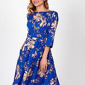 Одежда handmade. Livemaster - original item Dress with floral print aquamarine. Dress cotton. Handmade.