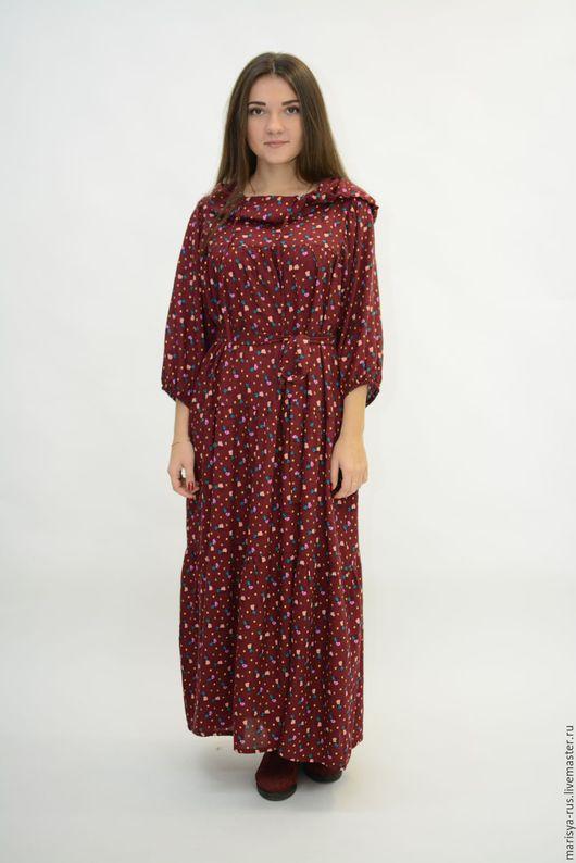"""Платья ручной работы. Ярмарка Мастеров - ручная работа. Купить Платье с капюшоном """"Валаам"""". Handmade. Бордовый, платье из штапеля"""