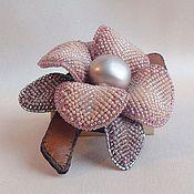 Украшения handmade. Livemaster - original item Brooch-pendant of DAWN ORCHID beads, pearls, leather. Handmade.