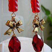 "Украшения handmade. Livemaster - original item Brass  earrings  ""Party in red"". Handmade."