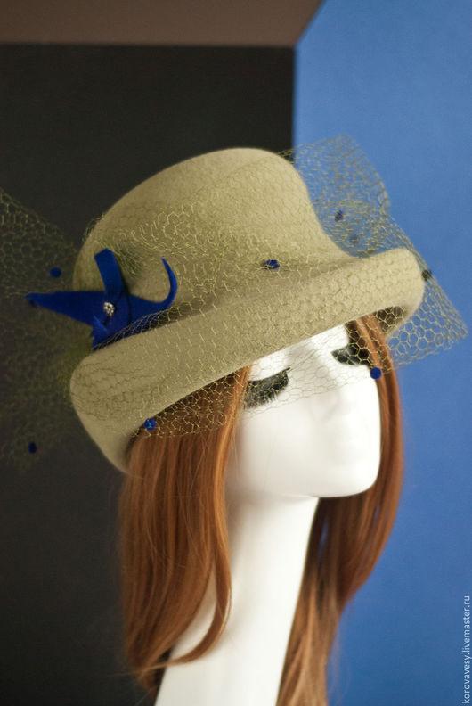 """Шляпы ручной работы. Ярмарка Мастеров - ручная работа. Купить """"Английский клуб"""". Handmade. Оливковый, авторская работа, жизнь удалась"""